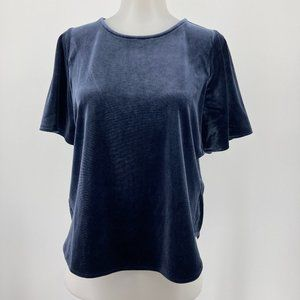 Madewell Top Velvet Butterfly Blouse Solid Navy